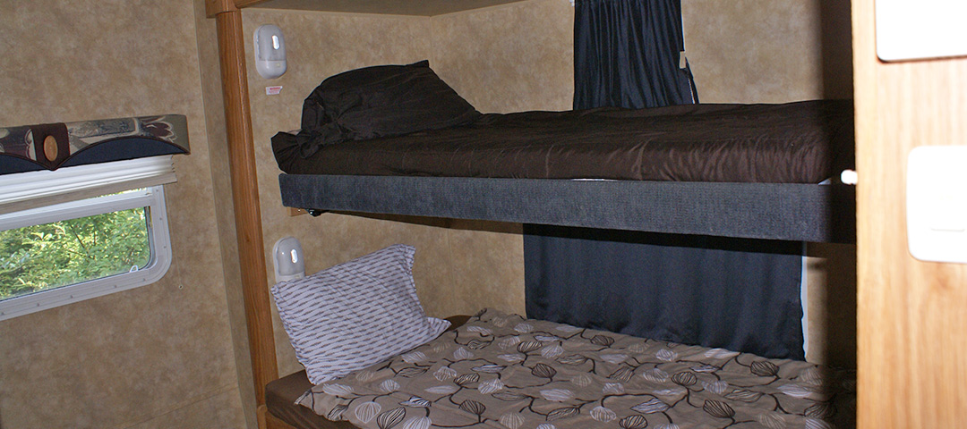 Two story bunk beds in the rental trailer.