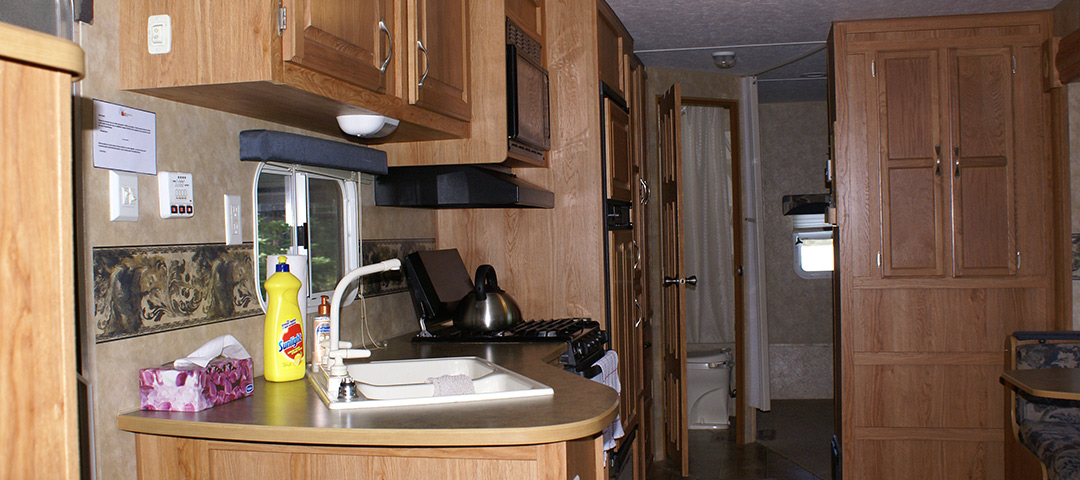 The kitchen of the rental trailer.