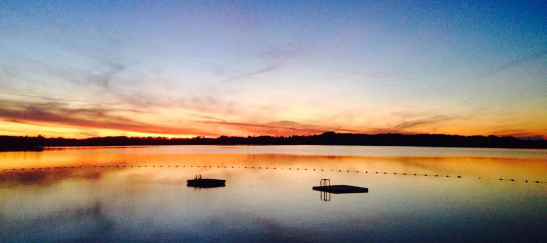 A beautiful shot of Big Water Lake at sunset.