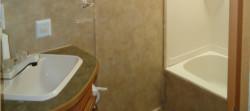 The three-piece washroom of the rental trailer.